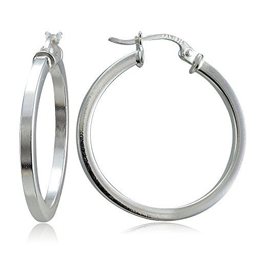 - Hoops & Loops Sterling Silver 2mm High Polished Square Hoop Earrings, 35mm