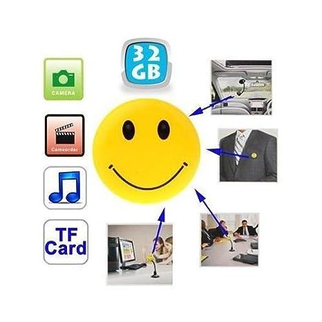 Badge-Yonis Smiley-Cámara espía con cámara de fotos, Mp3, Usb, Micro Sd, 32 GB: Amazon.es: Bricolaje y herramientas