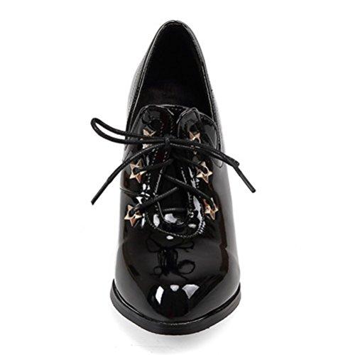 alto Atyche Botines Negro cerrada cordones para punta Tacón con Corte con charol Clásico de Zapatos mujer Awrq50w