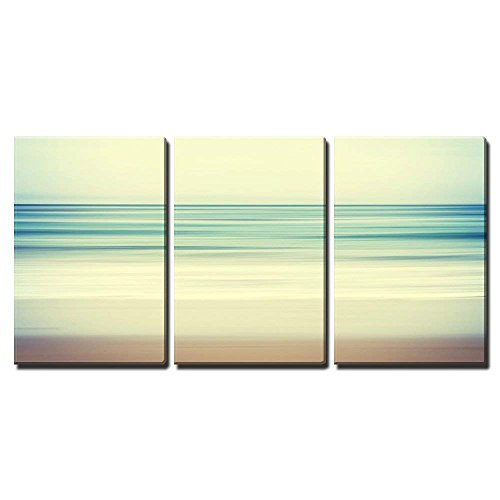 an Abstract Ocean Seascape with Blurred Panning Motion x3 Panels