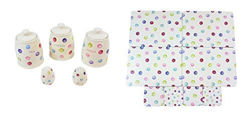 (13 PIECE PRINTED SPOTS DOTS TEA COFFEE SUGAR CANISTERS SALT PEPPER SHAKERS PLACEMATS COASTERS)