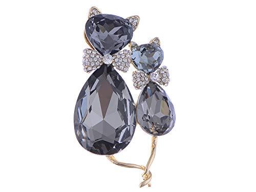 - Alilang Adorable Cute Black Crystal Rhinestone Kitty Cat Animal Pin Brooch