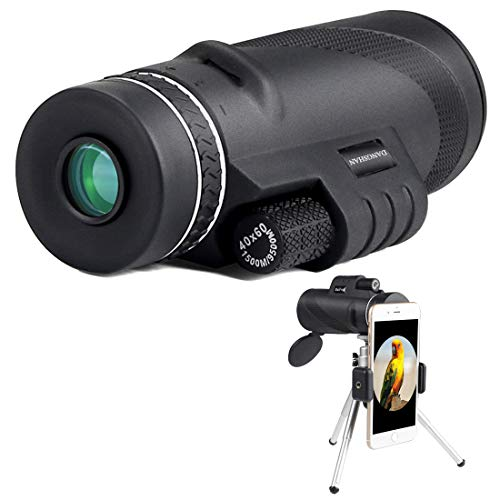 Monocular Telescope, 40x60 High Powered Spotting Scope Waterproof Fogproof Zoom Telescope with Phone Clip and Tripod for Bird Watching Hunting Camping Travelling and Wildlife Scenery