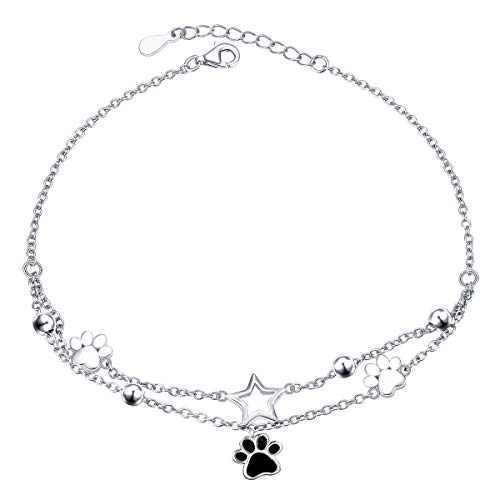S925 Sterling Silver Foot Charm Jewelry Puppy Dog Cat Pet Paw Print Double Chain Adjustable Anklet Large Bracelet Gift for Women Girls