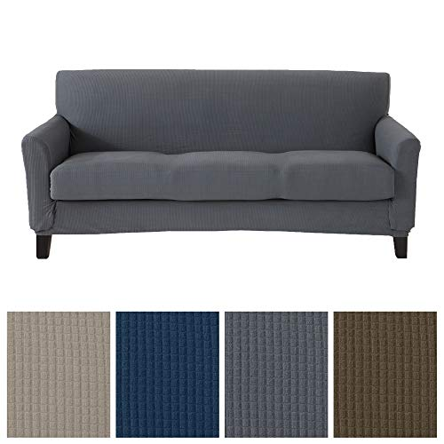 2 Piece Spandex Fabric Slipcover. Ultra Soft and Durable, Stretch Furniture Cover/Protector, Stays in Place. Analise Collection (Sofa, Grey) ()