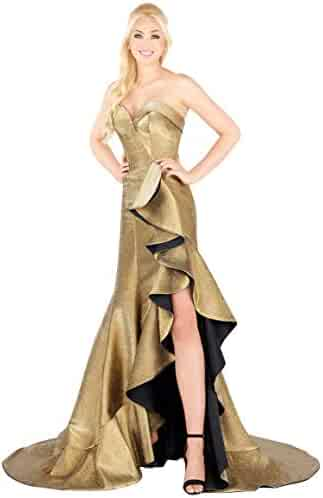 14565a92ef97 Mac Duggal Prom - Metallic Strapless Gold Ruffled Trumpet Dress Ball Gown