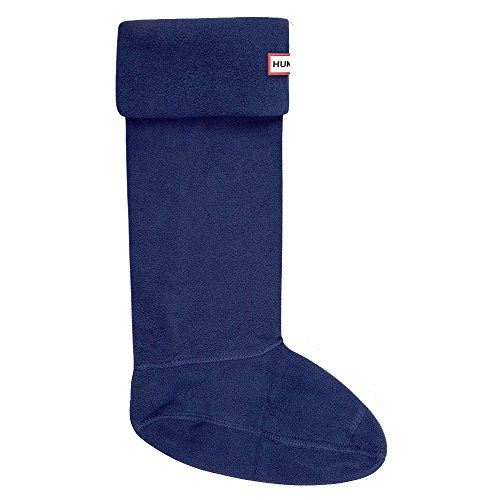 Fleece Socks Welly (Hunter Adults Boxed Fleece Welly Socks (US FEMALE 8-10, Navy))