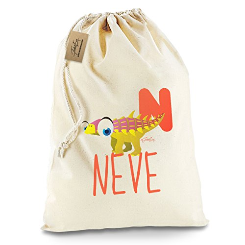[Personalised Dinosaur Letter N White Christmas Santa Present Sack X-Large] (Animal That Starts With The Letter N)