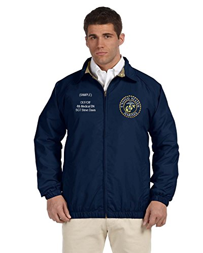 US Marine Corp Personalized Custom Embroidered Lightweight All Season Jacket - Navy Blue ()