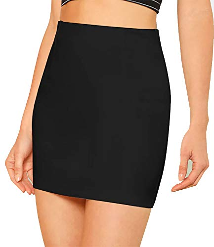PrettyFashion Mini Skirt Pencil Bodycon Mini Skirt Stretchy Summer Short Skirt Elasticated Micro Skirt Multiple Colours…