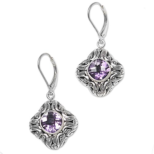 Sterling Swirling Flower Earrings - NOVICA Amethyst .925 Sterling Silver Dangle Earrings 'Swirling Purple'