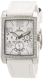 Festina F16362/A - Reloj cronógrafo de cuarzo para mujer con correa de piel, color blanco