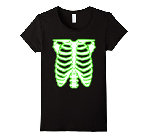 Womens Halloween Radioactive Skeleton Rib Cage Costume T-Shirt XL Black -