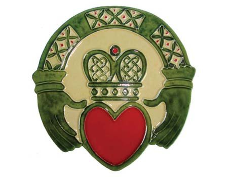Claddagh Wall Plaque Hand Painted Ceramic Made in Ireland