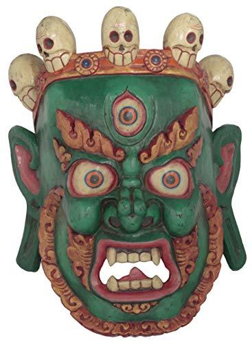 Exotic India Tibetan Buddhist Deity Mahakala Wall Hanging Mask from Nepal - Wood Statue