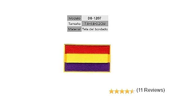 BANDERA DEL PARCHE BORDADO PARA PLANCHAR O COSER (República Española 7.8cm): Amazon.es: Hogar