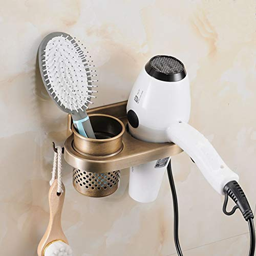 Evoio Hair Dryer Holder Brush Cup Aluminum Wall Mounted Bathroom Organizer Racks Hair Dryer Shelf Washroom Accessories Storage Organizer 1 Cup 1 Hole with Hook Oval(Retro)