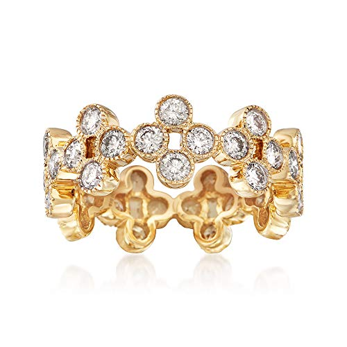Ross-Simons 2.00 ct. t.w. Diamond Clover Eternity Band in 14kt Yellow Gold (Diamond Band Tw Eternity 2ct)