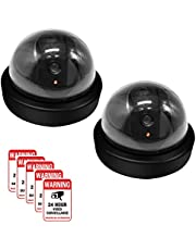 Dummy Camera CCTV Surveillance System with Realistic Simulated LEDs, findTop 2 Pack Fake Hemisphere Security Camera with 5 Pieces Warning Security Alert Sticker Decals