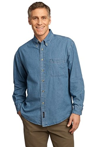 Stonewashed Denim Shirt - Port & Company Men's Long Sleeve Value Denim Shirt Medium Faded Blue