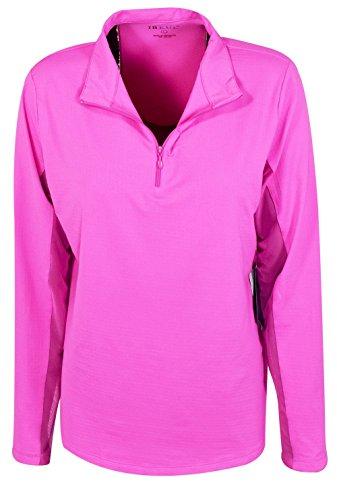 IBKUL Solid Mock Neck Top - 80000 (Large, Hot Pink)