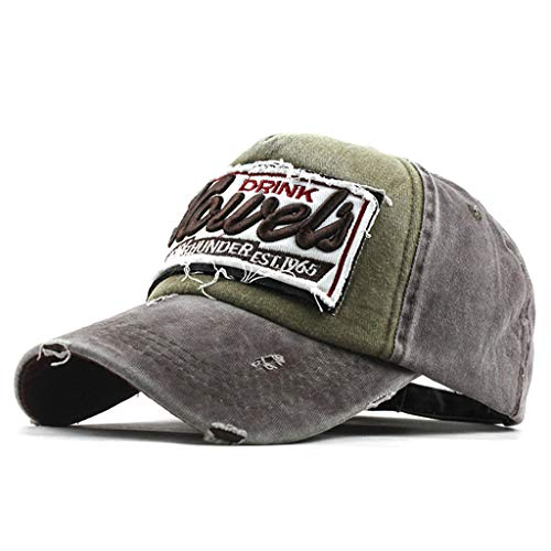 Yucode Great Cap Adjustable Baseball Hat with Letter Printing Breathable Eyelets Coffee ()