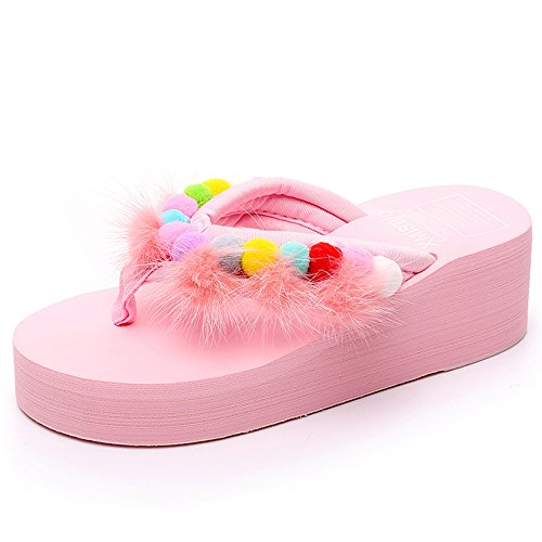 Slippers HAIZHEN Women shoes 5.5CM Female Summer Sand Female Non-slip Thick Bottom Sandals Vacation Leisure (White/Black/Green/Pink) for Women (Color : White, Size : EU36/UK3.5/CN36) Pink