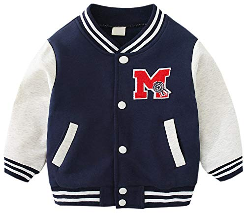 Boys Jacket, Kids Baby Little Toddler Boys Varsity Bomber Baseball Jacket Sweatshirts,Navy Blue, 18-24 Months = Tag -