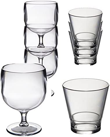 Conjunto especial de 12 Roltex plástico policarbonato, irrompible, gafas de apilamiento reutilizables. Apilamiento de 6 copas de vino, capacidad 220 ml y 6 vasos de jugo de whisky/apilamiento. Capacid