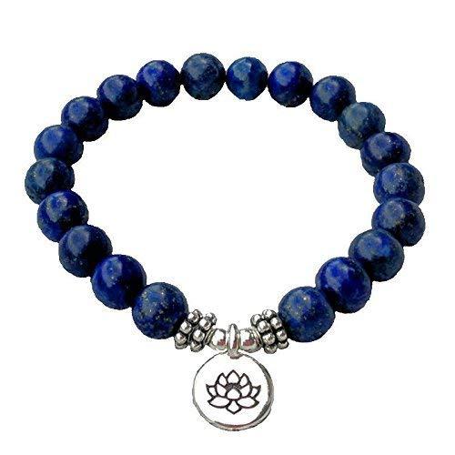 Handmade Third Eye Chakra Bracelet Lapis Lazuli Gemstone & Lotus Flower Charm Healing Bracelet Yoga Meditation