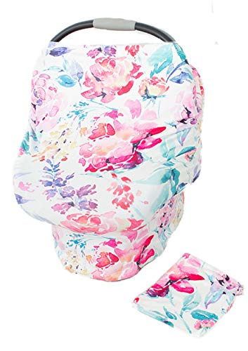 - Floral Car Seat Canopy Cover, Breastfeeding Cover, High Chair, Shopping Cart Cover - Baby Girl, Baby Shower, Baby Gift