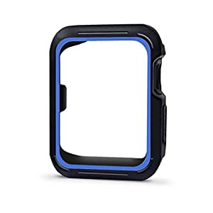 Threenine for Apple Watch Case 42mm, Shock-proof and Shatter-resistant Visual looks better Sport Case for Apple Watch Band Series 3 Series 2 Series 1 Sport, Edition(Case)42mm-Black Blue
