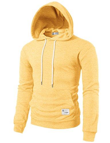 Sweatshirt Lightweight Crewneck (H2H Mens Casual Lightweight Driftwood Long-Sleeve Jersey Hoodie Yellow US S/Asia M (KMOHOL0118))