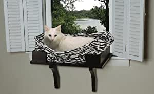 Amazon Com Savvy Tabby Wooden Cat Window Seat Espresso