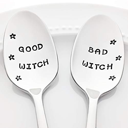 Good Witch/Bad Witch (with Stars) - Kitchen Halloween Decor. Hand Stamped Stainless Steel Spoons (Set of 2) -