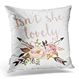 baby girls room Emvency Decorative Throw Pillow Cover Square Size 18x18 Inches Boho She Lovely Baby Girl Nursery Pillowcase With Hidden Zipper Decor Cushion Gift For Home Sofa Bedroom Couch Car