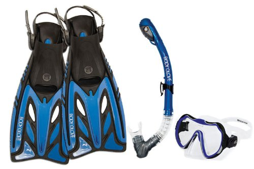 Body Glove Adult Amani Purge Pro Fins Set Snorkel Mask (Blue, - Glasses Amani