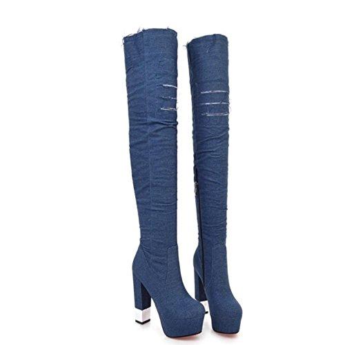 Stivali Style gli 13 Alti toe al Scarpe 4U® Denim Pointed Best Donna 5cm sopra Chunky blue Casual stivali Zipper Heels ginocchio deep 4vAnqZ