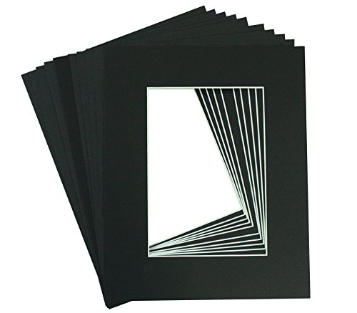 Cutter Foam 1500 Board - Mat Board Center, Pack of 20 8x10 Black Picture Mats for 5x7 Pictures +1/8 White Foam Backing+Bags