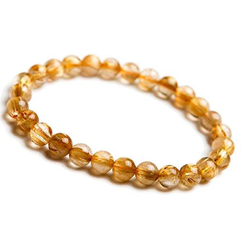 LiZiFang 7mm Natural Gold Rutilated Quartz Crystal Round Bead Bracelet ()
