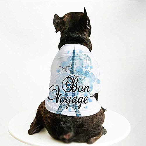 YOLIYANA Going Away Party Decorations Skin Friendly Pet Suit,Eiffel Tower Air Balloon Watercolor Bon Voyage Bird for Pet Dogs,S - Bird Voyage Pet