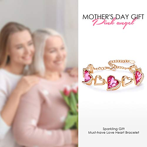 CDE Heart Bracelets for Girls Rose Gold Plated Birthstone Link Bracelets Embellished with Pink Crystals from Austria Birthday/Mothers Day Gifts for Womens