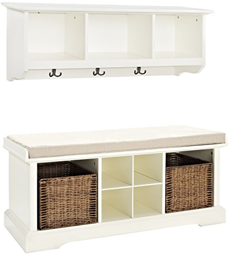 Crosley Furniture  Brennan Entryway Storage Bench and Hanging Shelf Set, White - Solid Hardwood and Veneer Construction Variety of Colors to Match any Décor Includes Two Wicker Storage Baskets - hall-trees, entryway-furniture-decor, entryway-laundry-room - 41vouJmfsJL -