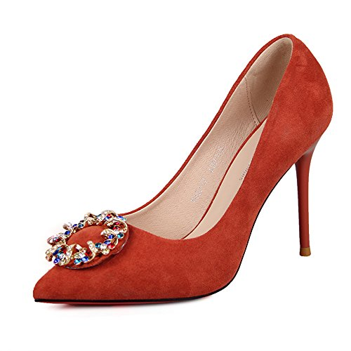 Sandals Feifei Women's Shoes PU Material Fashion Rhinestone Shallow Mouth Pointed High-Heeled Single Shoes Black Red Optional (with High: 10.5CM) Red jDdw7xH