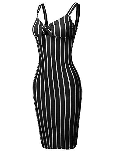 Made by Emma Stretch Sweet Heart Neckline with Self-Tie Stripe Sexy Dress Black S