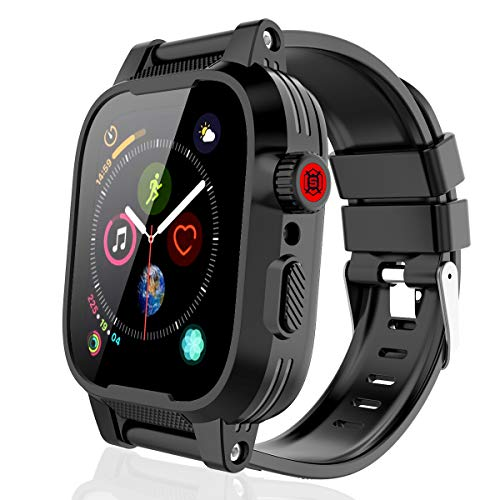 Waterproof Cases Apple Watch for 44mm Series 4, Rugged Shockproof Impact Resistant 360°Protective Built-in Screen Protector with Series 4 Soft Bands for Apple iWatch Series 4 44mm (Black)