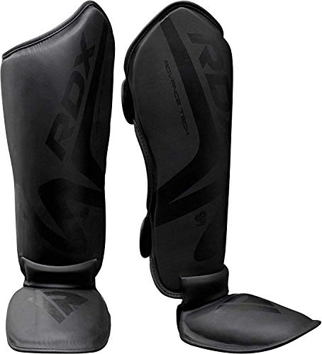 RDX Shin Guards for MMA Fighting & Boxing Training | Matte Black Convex Skin Leather Muay Thai Instep Leg Protector | Great Protective Gear for Martial Arts, Sparring, Kickboxing, BJJ, Karate