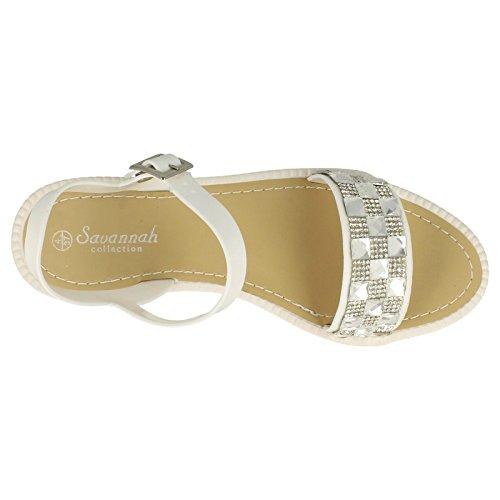Damen offene Zehen Flatform Savannah Sandalen Weiß