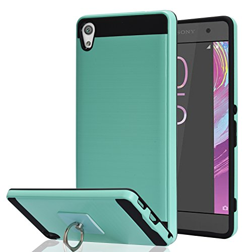 S5 Case,Galaxy S5 Phone Case with HD Screen Protector, YmhxcY 360 Degree Rotating Ring & Bracket Dual Layer Shock Bumper Cover for Samsung Galaxy S5 (I9600)-ZH (ZH-Mint-1)