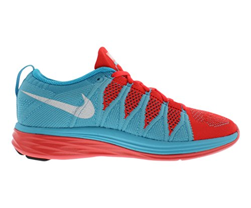 Nike Womens Flyknit Lunar2 Scarpa Da Corsa Brillante Cremisi / Bianco / Blu Polarizzato